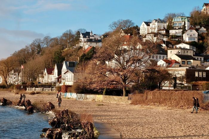 The Elbe coast in Hamburg on a rare sunny day in December Wintertime Blankenese Christmas Holidays Elbe River Hamburg Architecture Building Exterior Built Structure Tree Day House Outdoors Nature Town Sky Residential Building Water Bare Tree City Beauty In Nature
