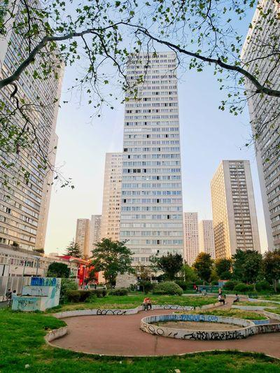 Park by buildings against sky in city