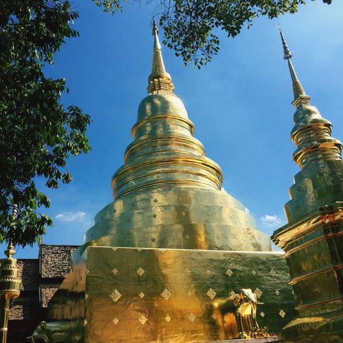 Architecture Building Exterior Built Structure Low Angle View Tree Religion Sky Place Of Worship Spirituality Outdoors No People Day Statue Wat Thai Golden Light Shadows & Lights Light And Shadow Temple - Building