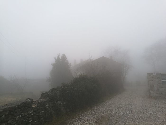 Fog Nebbia Foschia Nebbia,foschia Nebbia Nuvole Basse Nebbia Del Mattino Fog Landscape Weather Winter Tranquility No People Outdoors Building Exterior Residential Structure Exterior Building Tranquil Scene Calm Foggy Dirt Road