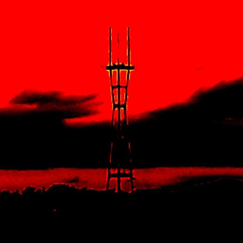 Sutro Tower In Distant Horizon San Francisco, California Sutro Sunset Red Silhouette Sky