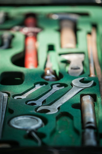 Close-up of hand tools in toolbox