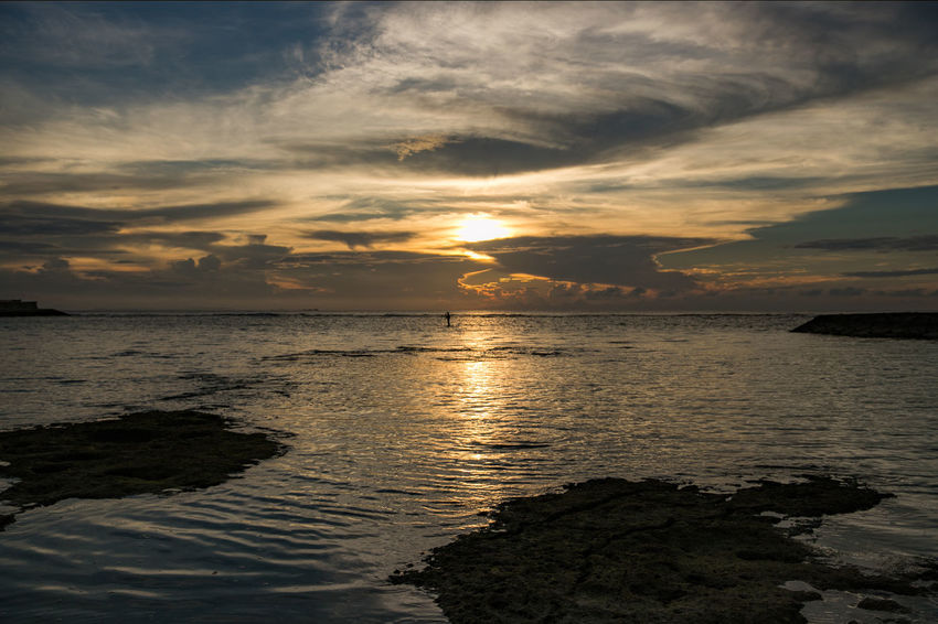 Holiday Okinawa Vacations Beach Beauty In Nature Cloud - Sky Day Dramatic Sky Horizon Over Water Idyllic Nature No People Outdoors Reflection Scenics Sea Silhouette Sky Summer Sun Sunset Tranquil Scene Tranquility Travel Destinations Water