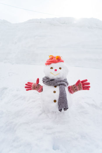 Alps Art And Craft Cold Temperature Creativity Day Extreme Weather Hat Human Representation Japan Alps Land Mountain Nature No People Outdoors Red Representation Scarf Snow Snow Board  Snow Man Snowman Snowman⛄ Softness Stuffed Toy Toy Warm Clothing White Color Winter
