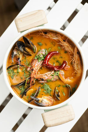 thai red curry seafood soup Asian Soup Seafood Thai Red Curry Bowl Close-up Day Food Food And Drink Freshness Healthy Eating High Angle View Indoors  No People Ready-to-eat Red Curry Red Curry Soup Soup Thai Food Tom Yam