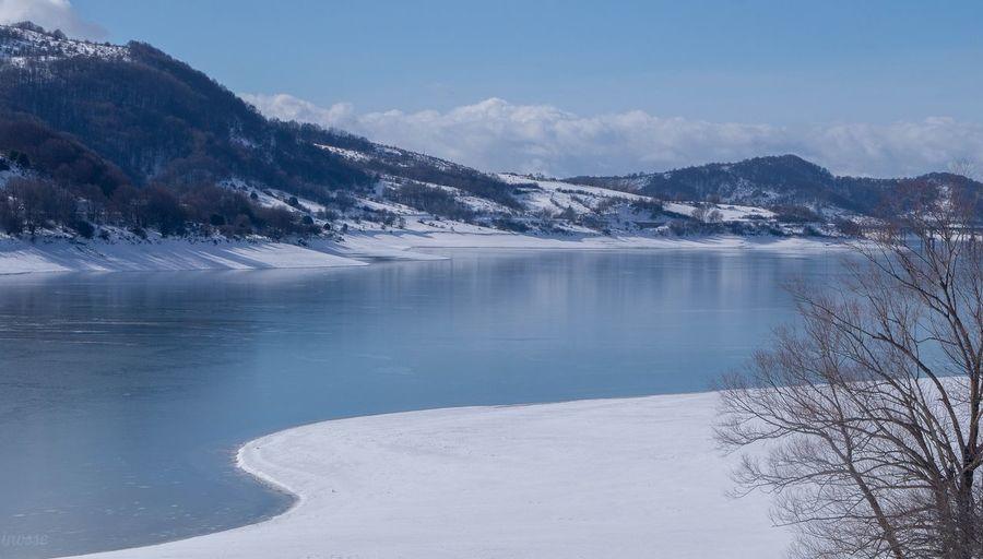 Lago di Campotosto, AQ. Rural Scene Frozen Water Frost Frozen Lake Weather Condition Cold Ice
