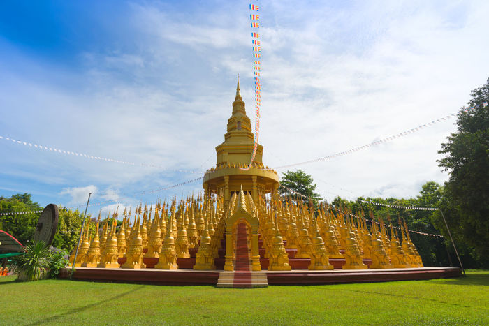 Pagoda architecture. Golden Pagoda Thailand Blue Sky And Clouds Buddhist Temple Culture And Tradition Nakornnayok Temple Wat Thai