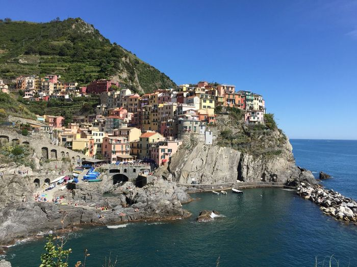 Blue Cinque Terre Coastline Day Horizon Over Water Manarola Nature Outdoors Sea Sky Town Water