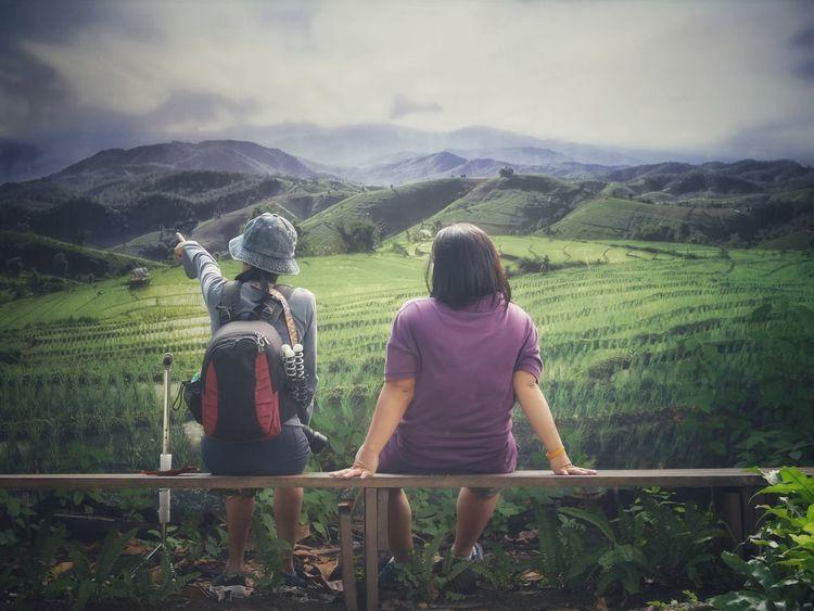 Mountain Rural Scene Women Tea Crop Agriculture Field Standing Farmer Sky Landscape