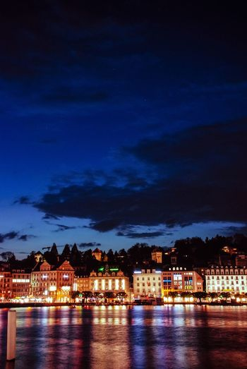 Lucerne by the blue hour, night, lake, city, lakeside, bridge, blue, lake lucerne, vierwaldstättersee, switzerland Landscapes With WhiteWall Lucerne