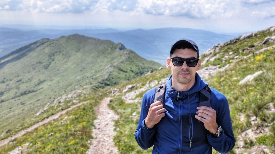 Hiking on the Rtanj mountain EyeEm Selects Mountain Portrait Rural Scene Adventure Hiking Standing Front View Sky Landscape Mountain Range Hiker The Modern Professional