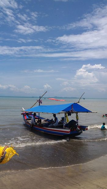 Anyer  Anyer Beach Beach Beauty In Nature Cloud - Sky Day Fishing Boat Floating On Water INDONESIA Indonesia Beach Indonesia Fisherman Indonesia Travel Moored Nature Nautical Vessel No People Outdoors Sea Sky Traditional Boat Transportation Water