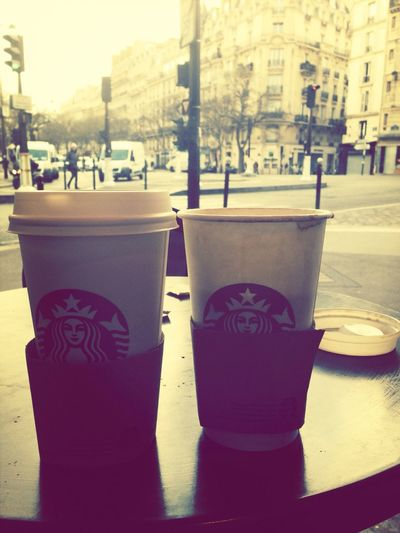 Watching the world go by with a Starbucks in Paris. I want to go back to that beautiful city! Paris Starbucks City Coffee