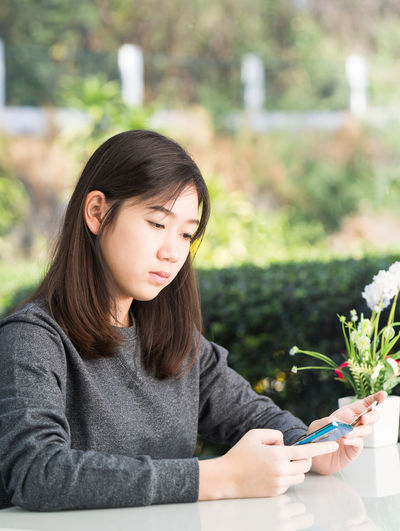 Young woman looking at camera