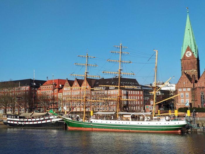 Sailboat and Old Hanse City Sailboat Oldtown Hanse City River Outdoors Nopeple Winter EyeEmNewHere
