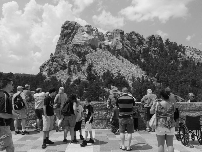 Tourists at Mount Rushmore Large Group Of People Day Nature Mountain People Real People Monument Mount Rushmore Dakota  USA