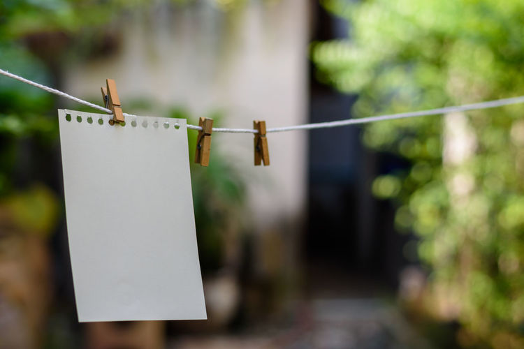 Close-up of blank paper hanging on clothesline outdoors