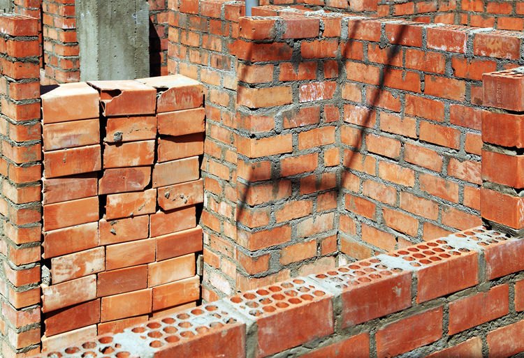 Brick wall at construction site