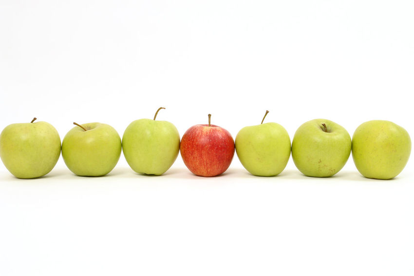 Apple Apple - Fruit Close-up Copy Space Day Discrimination Food Food And Drink Freshness Fruit Granny Smith Apple Green Color Group Of Objects Healthy Eating Healthy Lifestyle Many No People One Many One Person Pear Still Life Studio Shot Variation White Background