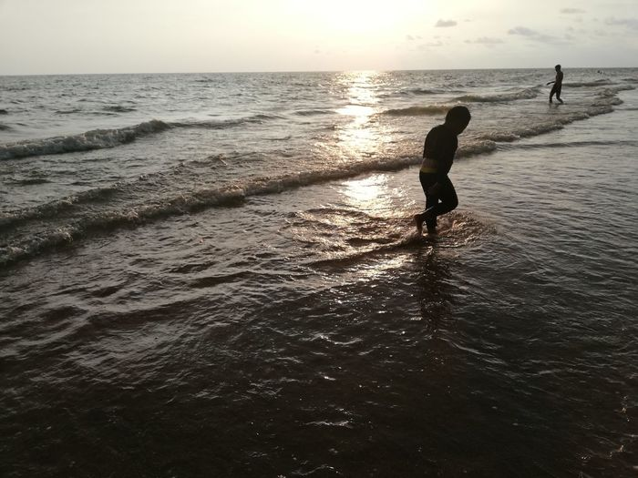 Children enjoy on summer trip 2019,หาดเจ้าหลาว Achi2019 Sea Water Horizon Sky Horizon Over Water Silhouette Beach Land Beauty In Nature Sunset Lifestyles Leisure Activity Real People Scenics - Nature Nature Men Waterfront People Holiday Outdoors