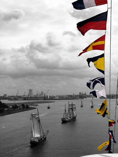 Blick von der Aida zur Hansesail HanseSail Aida Warnemünde Ostsee Sky Cloud - Sky Sea Day Water Flag
