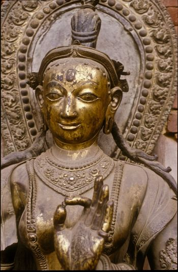 1987 old analogue photo of a religious sculpture in Nepal Analogue Photography Close-up Day Kathmandu Valley Nepal 1987 No People Old Photos With History Place Of Worship Religion Sculpture Statue Stone Carved Statue Travel Photography
