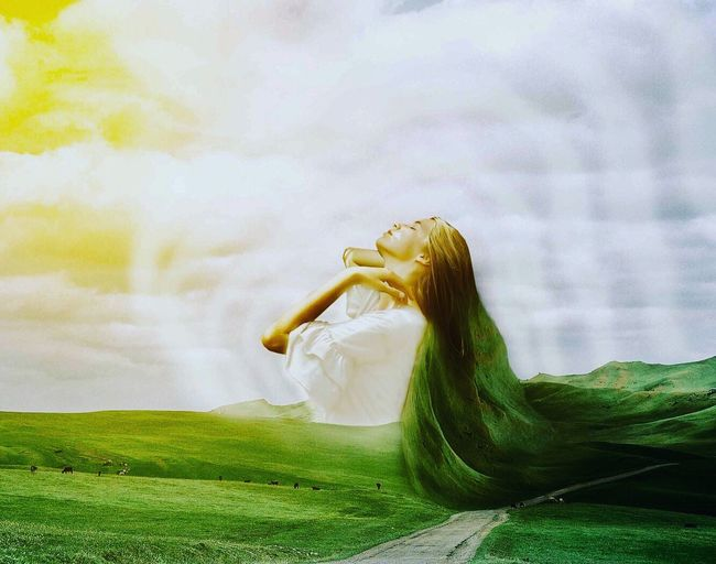 Mother earth Peacefull Surrealism And Fantasy Art Surrealist Art One Person Women Adult Cloud - Sky Young Adult Grass Sky
