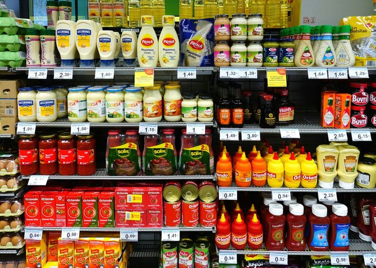 Colorful Sauce, Ketchup, Mayonnaise, Bottle, Jar, Tetrapack Sauce Ketchup Mayonnaise Bottle Jar Tetrapack Yellow Red Tomato Sauce Tomatoes Madrid Spain Plastic Supermarket Choice Shelf Store Retail  Variation Price Tag Meat For Sale Display Retail Display Raw Shop Shelves Various Stall