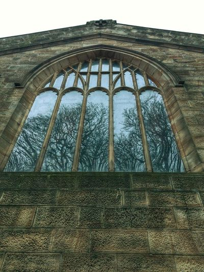 Trees Reflection Stonework Portal To Another World. Portal Church Window Church Reflection Trees Window Low Angle View Day History No People Architecture Indoors  Built Structure