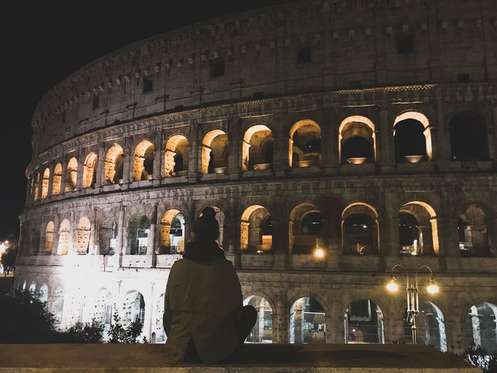 Che bella Roma Night History Arch Architecture Real People One Person Illuminated Tourism Travel Destinations Lifestyles Built Structure Leisure Activity Arts Culture And Entertainment Men Indoors  Standing Vacations City