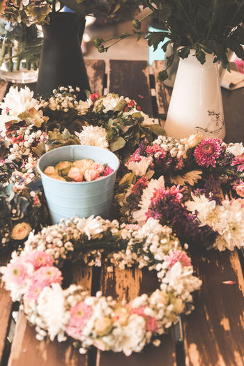 Flower Flowering Plant Plant Freshness No People Nature Food And Drink Close-up Beauty In Nature Choice Vulnerability  Fragility Variation Indoors  Food Retail  Day Pink Color High Angle View Flower Arrangement Bouquet Flower Head Flower Wreath