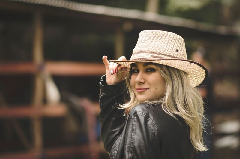 Hat Focus On Foreground One Person Casual Clothing Real People Young Women Young Adult Outdoors Lifestyles Portrait Day Smiling Close-up People Be. Ready. International Women's Day 2019