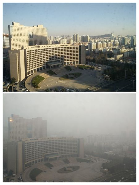 Pollution in Qingdao China Skyscraper Cityscape City Urban Skyline Downtown District Architecture Building Exterior Aerial View City Life Apartment Air Pollution No People Sky Built Structure China Qingdao Qingdao China Shandong Shandong Province Air Pollution China Comparison