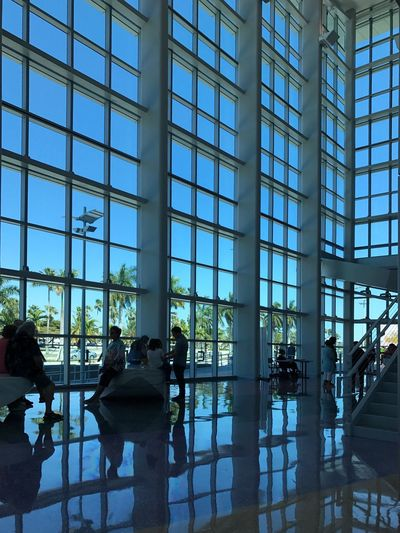 South Miami Dade Cultural Arts Center. Arts Culture And Entertainment Theater Lobby Cutler Bay Arts Center Cultural Center Architecture Glass Wall And Its Reflections Reflections Atchitecturre Windows Wall Of Windows
