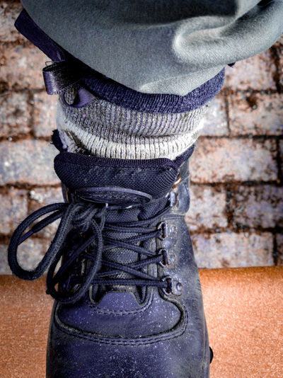 purple stardust boots Grunge Stardust Femininity Hiking Urban Bows Grey Orange Color Khaki Stardust Camouflage Startrooper Fashion Odd Textile Close-up Low Section Wearing Footwear Wool Woolen Sock Human Feet Human Foot Shoe Shoelace Human Leg Lace - Fastener Brick Wall Personal Perspective