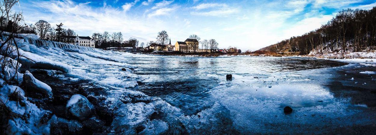 Die Mulde bei Grimma im Winter Fluss Im Winter Grimma Mulde Outdoors Panorama Snow Water Winter