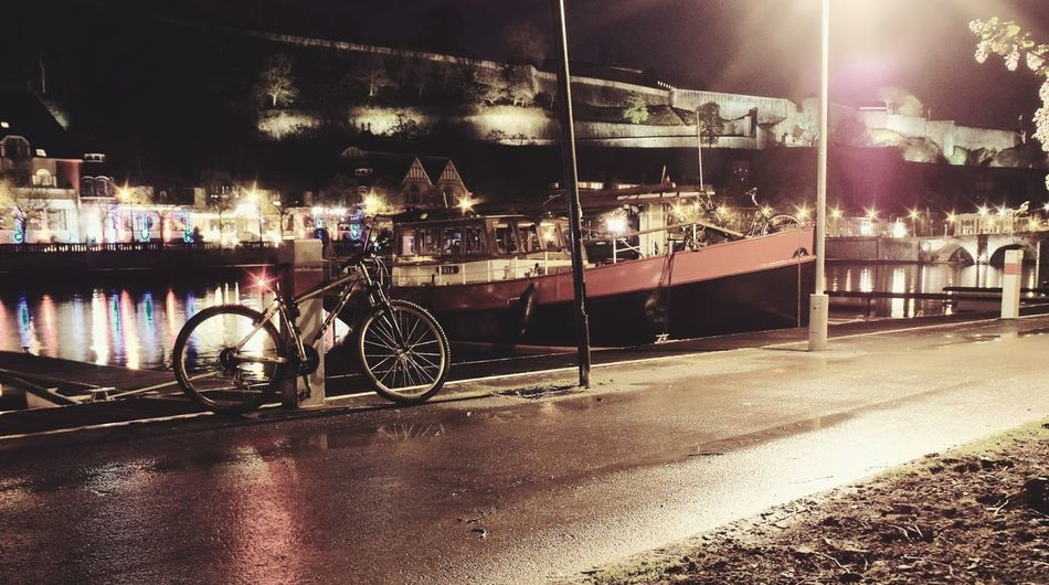 Boats⛵️ Outdoors Waterfront Water Reflection Night Low Angle View Close-up EyeEmNewHere Outdoor Photography Bycicle Lovers Boats CitadelleNamur Illuminated City No People