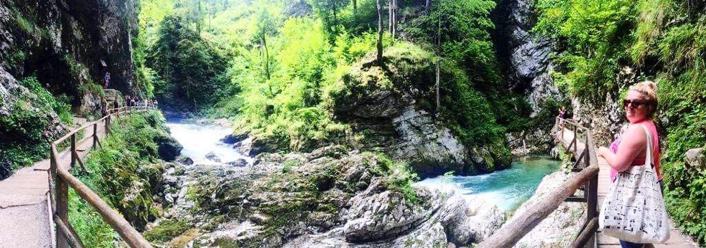 Tree Water Waterfall Women Motion Spraying Standing Rear View Shirtless River