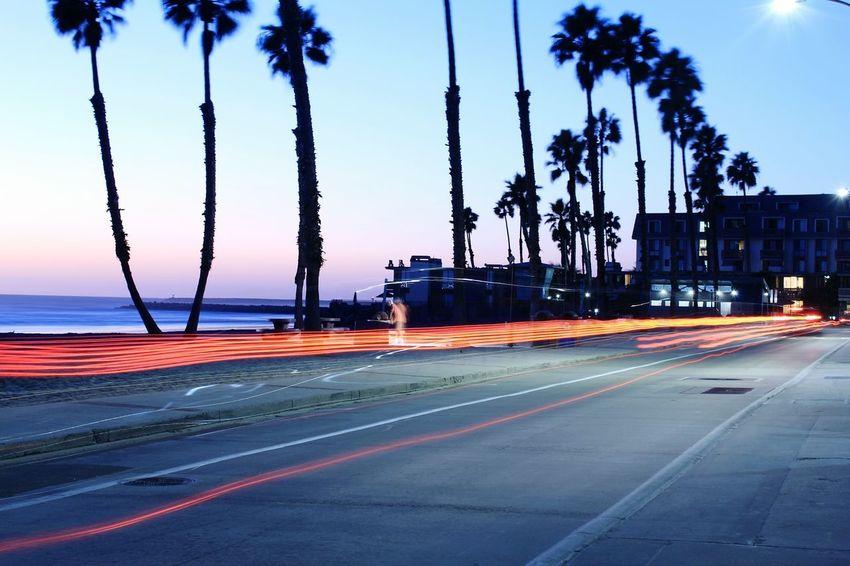Long Exposure Light Trail Transportation Motion Road Outdoors Sky Water No People Tree Sea Oceanside, Ca Night Illuminated Speed Street