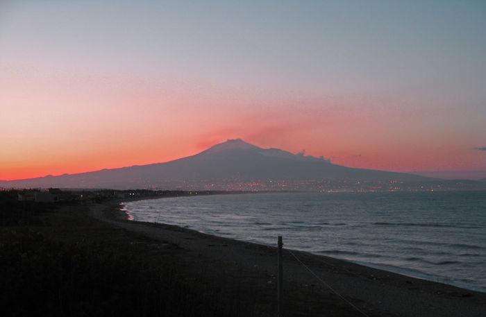 Beach Beauty In Nature Blue Coast Coastline Etna Italy Majestic Red Scenics Sea Siciliy Sky Sunset Water