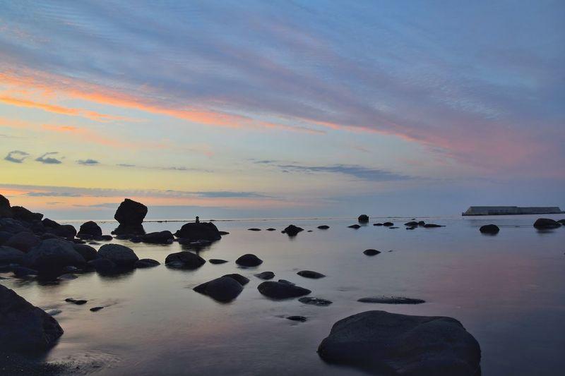 Dusk in Utoro, Hokkaido, Japan. Sunset Sea Water Scenics No People Tranquility Tranquil Scene Sky Blue Beach Landscape Horizon Over Water Outdoors Day Nature Summer Hokkaido,Japan Utoro The Week On EyeEm