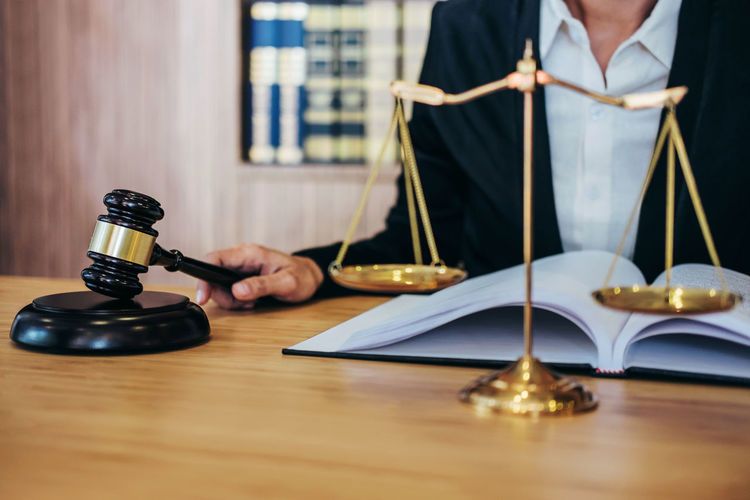Lawyer Balance Barrister Book Casual Clothing Counselor Courtroom Fairness Gavel Holding Human Body Part Indoors  Inheritance Judge Judgement Jurisprudence Justice Legal Legislation Notary People Publication Selective Focus Verdict Wood - Material