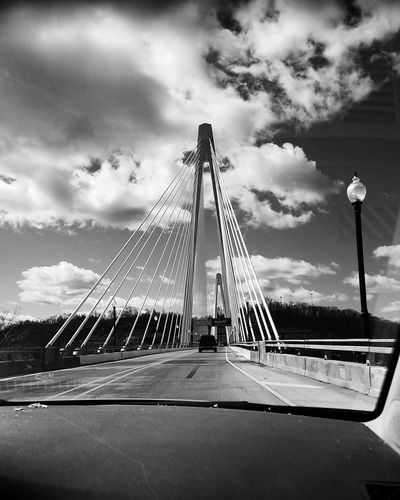 Going Home. From My Car Window 🚕🚗🚕🚗🚕🚗🚕🚗🚕🚗🚕🚗🚕🚗🚕🚗🚕🚗 Travel Sky Suspension Bridge Architecture Ironton Ohio Russell Kentucky IMography Galaxy S7 VSCO Exceptional Photographs Architecture_bw Bridges Leading Lines Welcome To Kentucky Ironton Russell Bridge Rosie Peach Photography Black And White Photography Architecture_collection Black And White Bridge Kentucky  Architectureporn Welcome Cloud - Sky Art Is Everywhere