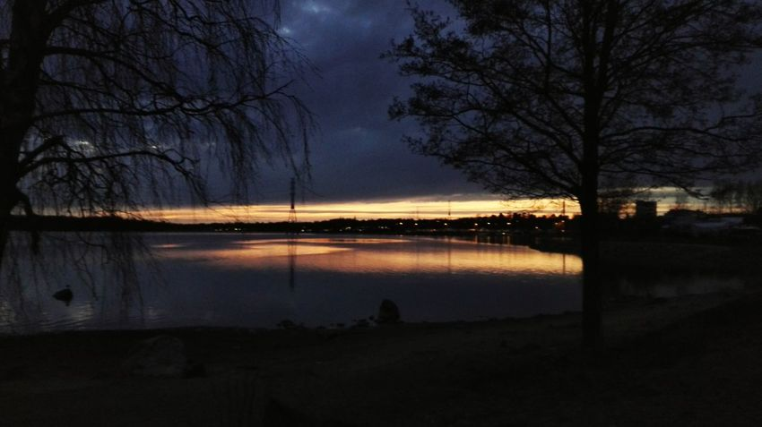 Night Reflection Tree Sky Nature Water Outdoors Beauty In Nature Scenics No People Finland Helsinki Suomi Huawei Tranquility