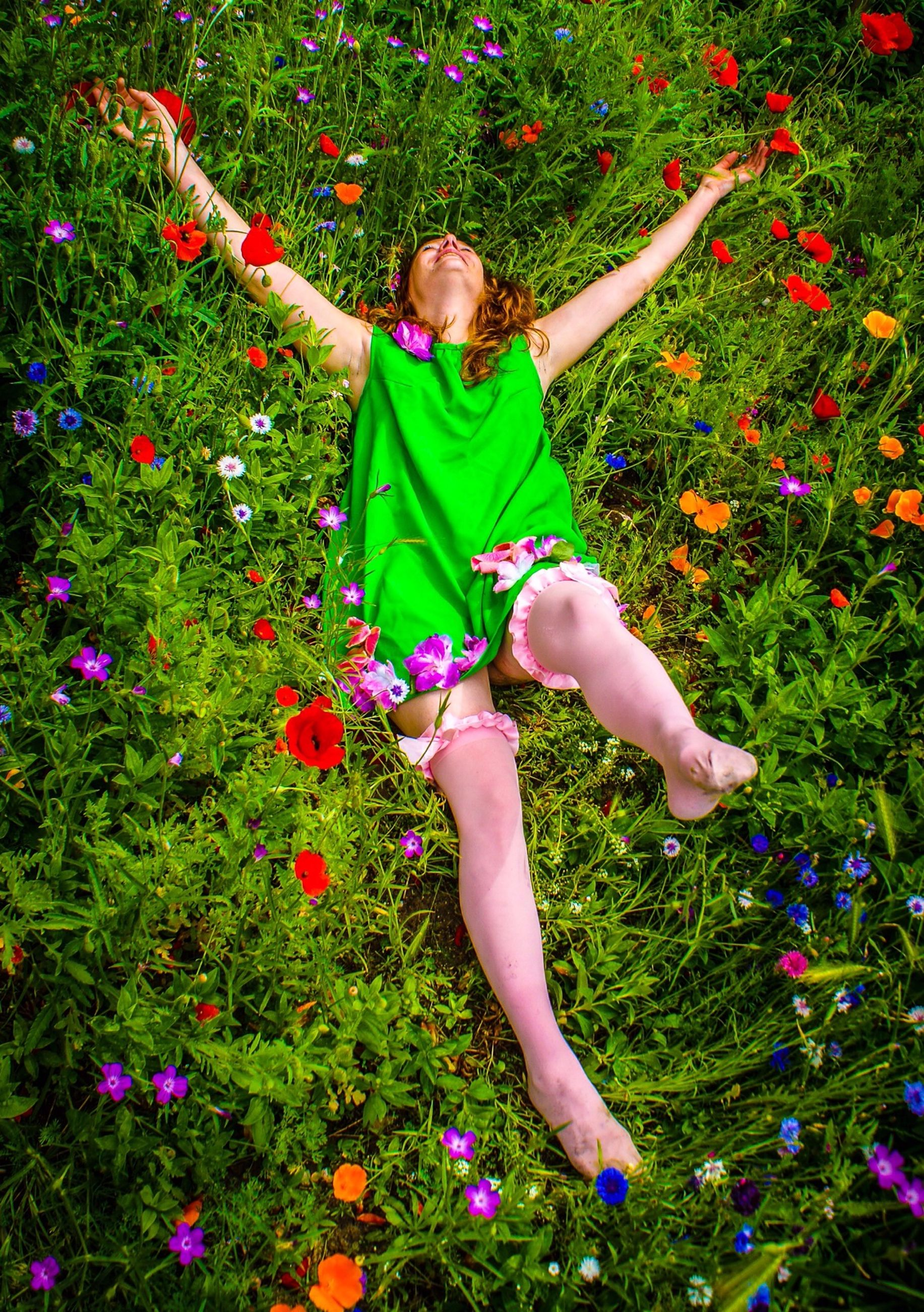 grass, flower, person, leisure activity, lifestyles, childhood, casual clothing, elementary age, full length, field, innocence, high angle view, girls, cute, growth, fragility, grassy, freshness