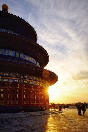 Sunset Travel Destinations Sky Architecture Cloud - Sky Built Structure People Outdoors Royalty Ancient Civilization Palace Sunlight Old Building  Silhouette Ancient Old-fashioned History Warm Day Travel Warm Light Warm Winter Light And Shadow Temple Of Heaven Park FUJIFILM X-T10 Beijing, China
