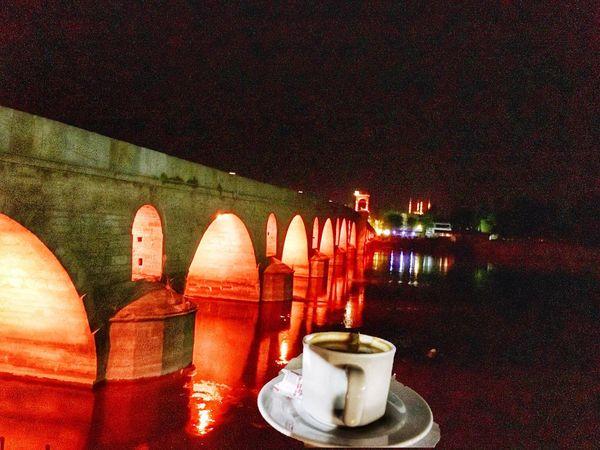 Meriç River Coffee Enjoy Night Lights Landscape