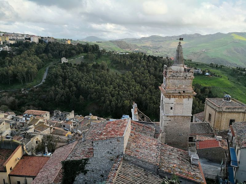 Caccamo city view with church tower Sicily Caccamo City View  Italian Village  High Angle View