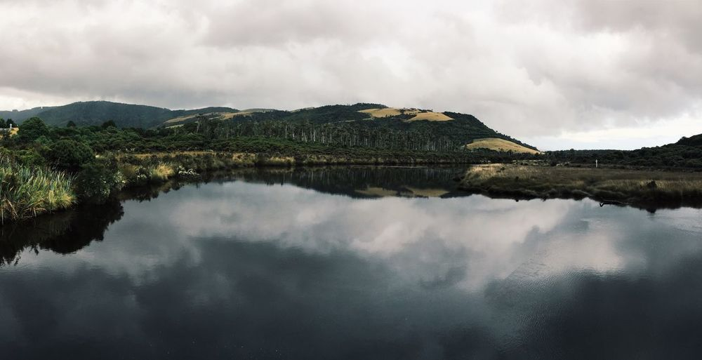 Reflection Water Nature Mountain Sky Tranquility Beauty In Nature Idyllic Tranquil Scene No People Outdoors Cloud - Sky Scenics Day Clam Fog Foggy Travel Traveling Water Reflections Mirror Lake New Zealand Symmetry Trees Lake