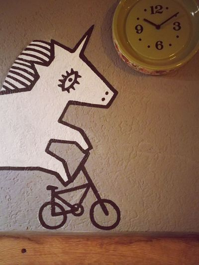 No People Indoors  Day Bar Hungary Pécs Bicycle Art And Craft Unicorn Clock Hurry Alwayslate Wallpainting Wallart